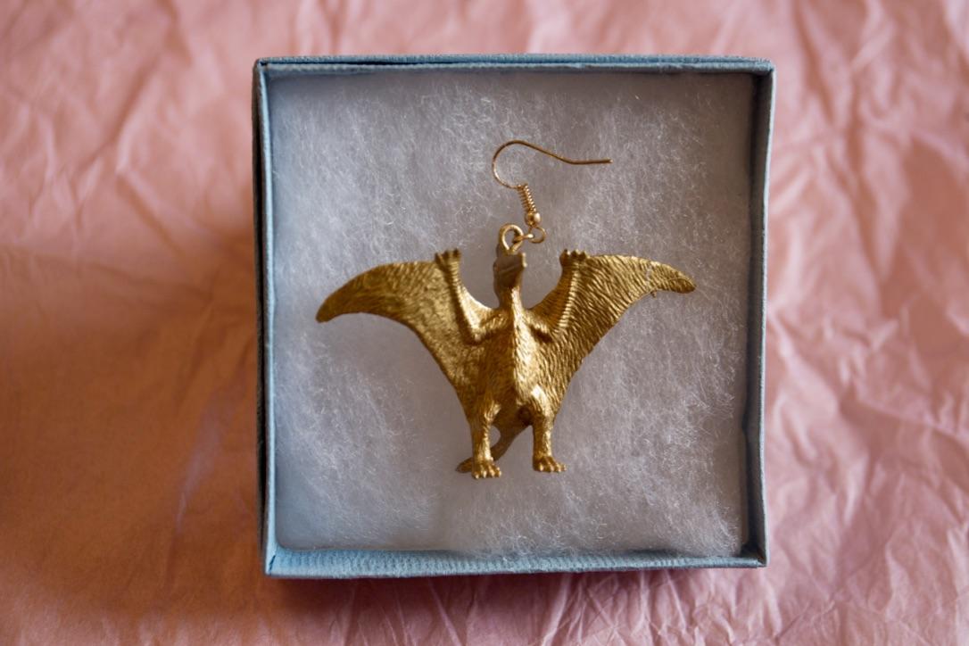 Cute gold dinosaur earring - Pterodactyl