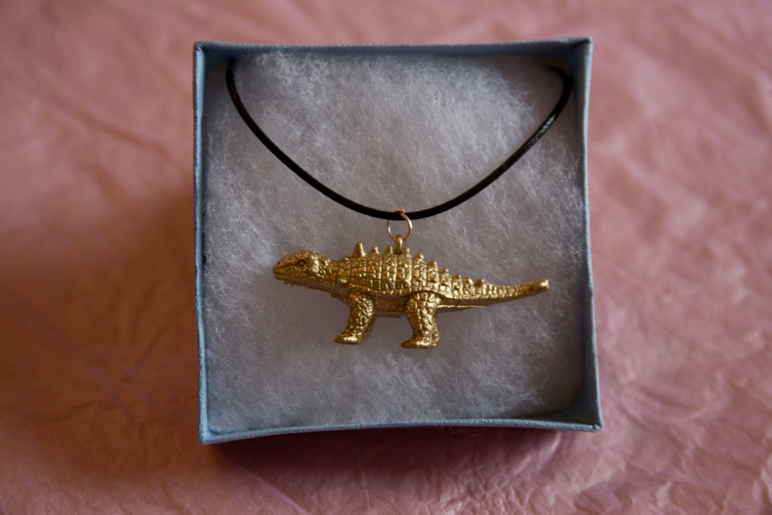 Cute gold dinosaur necklace -Ankylosaurus