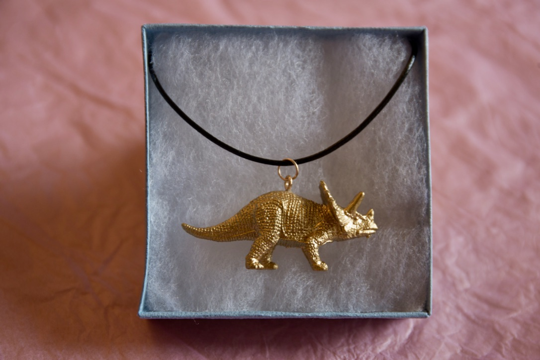 Cute gold dinosaur necklace - Triceratops